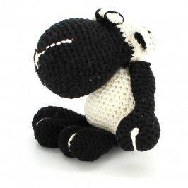 Háčkovaná ovečka černo bílá