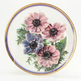 Porcelánový talíř dekorační s květinami