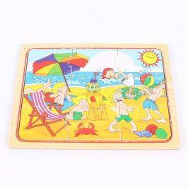 Dětské dřevěné puzzle Tesco motiv pláž