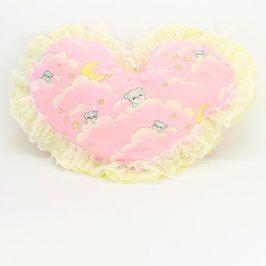 Polštářek ve tvaru srdce odstín růžové