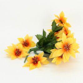Dekorace 2 umělé květiny žluté