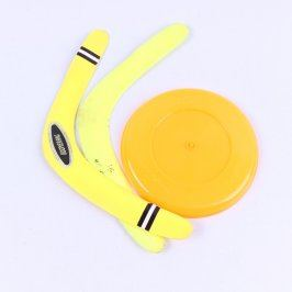 Sada jednoho frisbee a dvou bumerangů