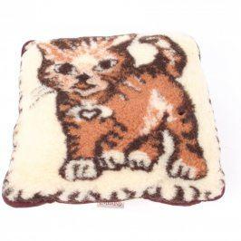 Vlněný polštářek Merino s motivem kočky