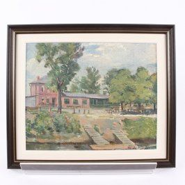 Obraz v rámu zátiší dům u řeky