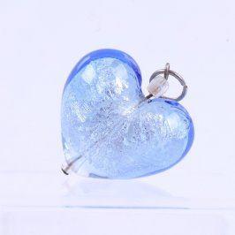 Skleněný přívěsek ve tvaru srdce - modrý