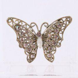 Přívěsek motýla s bílými kamínky