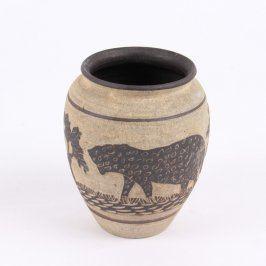 Keramická váza s africkým motivem
