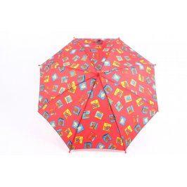 Dětský deštník červený s obrázky
