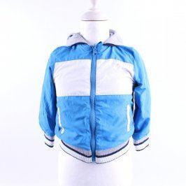 Dětská bunda šedo modrá s kapucí