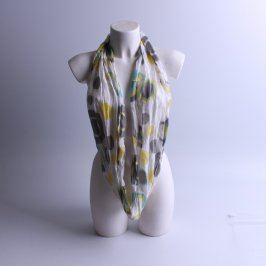 Dětský šátek bílý s barevnými puntíky