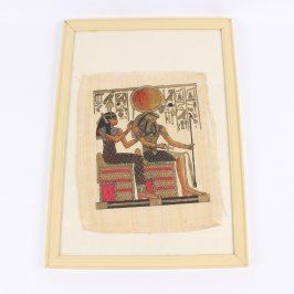 Obraz egyptských vládců na papyru v rámu