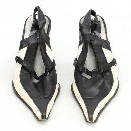 Dámské boty na nízkém podpatku bíločerné
