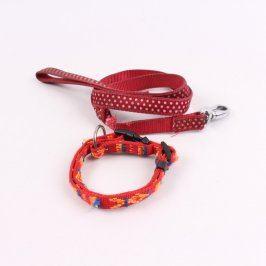 Vodítko a obojek pro psa červené barvy