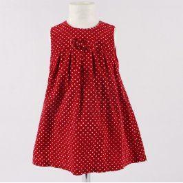 Dětské šaty George červené s bílým puntíkem