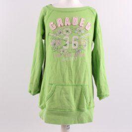 Dětské mikinové šaty H&M odstín zelené