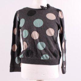 Dívčí svetr H&M šedý s barevnými puntíky