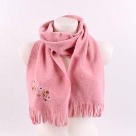 Dámská šála růžové barvy s obrázkem
