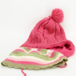 Čepice 2 ks zimní růžová a růžovozelená