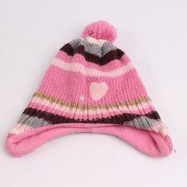 Dětská čepice růžová s barevnými pruhy