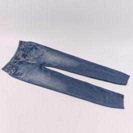 Dámské džíny modré s tygrovaným páskem