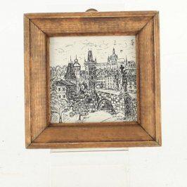 Obrázek v rámu s vyobrazením Prahy