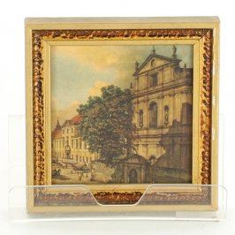 Obraz v rámu s motivem historického domu