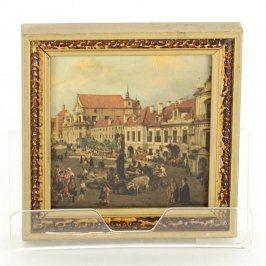 Obraz s rámem s motivem středověkého náměstí