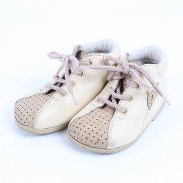 Dětské kotníkové boty kožené béžové