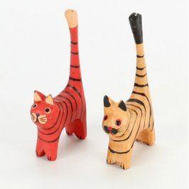 Dekorace dřevěné kočky 2 kusy