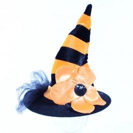 Karnevalový klobouk oranžovočerný s květinou