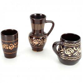 Keramické nádoby - džbánek a 2 hrnky