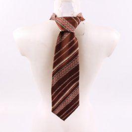 Pánská kravata Hedva rudá se světlými pruhy