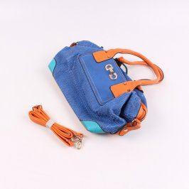 Dámská kabelka kožená oranžovomodrá