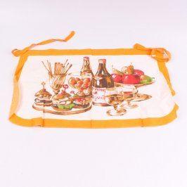Zástěra kuchyňská oranžovo-bílá