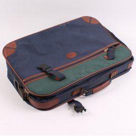Cestovní kufr tmavě modrý se zelenými prvky