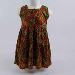Dětské šaty červené se zelenými vzory