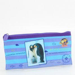 Pouzdro na psací potřeby modré s tučňáky
