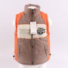 Dětská vesta Jindali hnědá s prvky oranžové