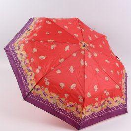 Deštník skládací červeno fialový s květy