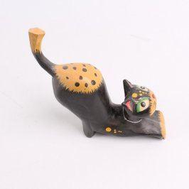 Dekorace dřevěná kočka s rolničkou