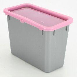Plastový úložný box šedý s růžovým víkem