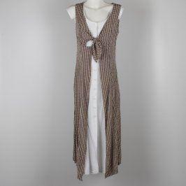 Dámské šaty bílé s dlouhou vestou