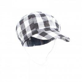 Čepice s kšiltem černobílé barvy