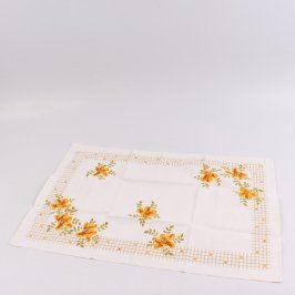 Utěrka bílá s květinovým vzorem