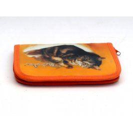 Penál s motivem kočky oranžový