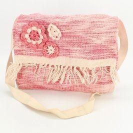 Dárková taška růžová s háčkovanými kytičkami