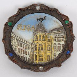 Dřevěná malovaná plaketa Riga