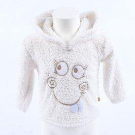 Dětská mikina Baby bílá chlupatá s kapucí