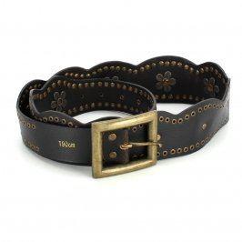 Dámský pásek kožený černý se zlatými cvoky
