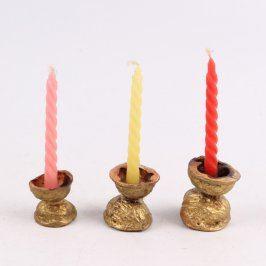 Svícny ze skořápek se svíčkami 3 ks